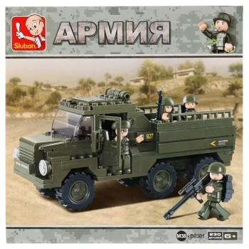 Конструктор грузовик военный с фигурками, 230дет. Sluban