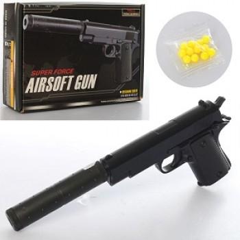 Пистолет металлический с глушителем Airsoft Gun  V2+