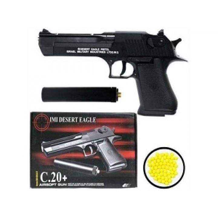 Пистолет металлический с глушителем Airsoft Gun C.20+