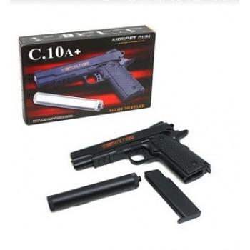 Пистолет металлический с глушителем Airsoft Gun C.10A+